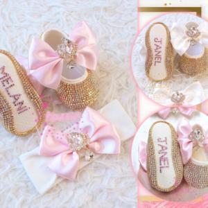 Personalized Handmade Rhinestone Baby Shoes and Headband Set